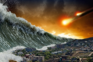 Tsunami waves, asteroid impact